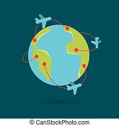 terra, viaggiare, vettore, illustrazione