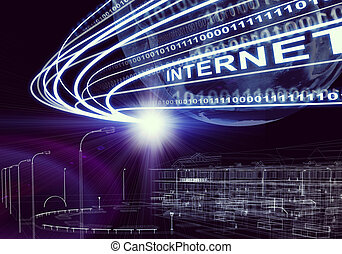 terra, wire-frame, costruzione, raggi luce, cifre, e, parola, internet, su, sfondo scuro