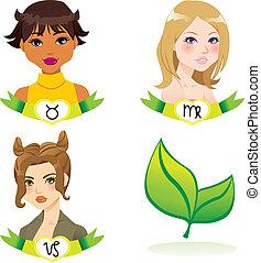 terra, zodiaco, donne