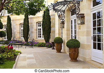 Terrace and garden in a French style