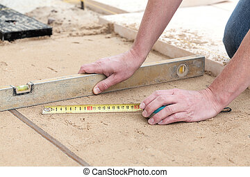 Terrace building - Building a terrace with a level line,...