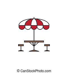 Terrace cafe vector icon concept, isolated on white background