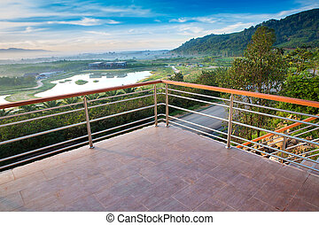 Terrace house with mountain view