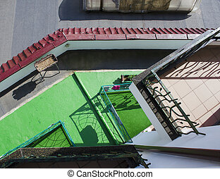 terrace in front of a house, aerial view