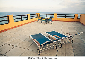 terrace in front of the sea