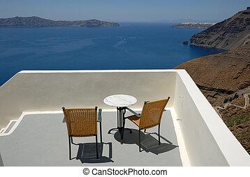 Terrace in Santorini, Greece