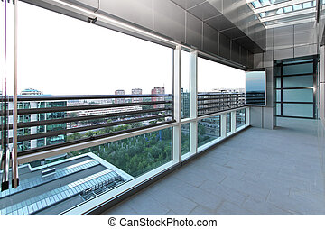 Terrace - Long terrace with sky window in new penthouse...