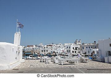 Terrace of a greek restaurant
