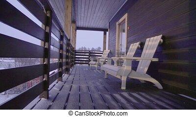 Terrace of ski touring lodge. Heliskiing in Siberia....