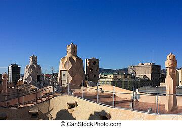 terrace of the Casa Mila - On the terrace of the Casa Mila...