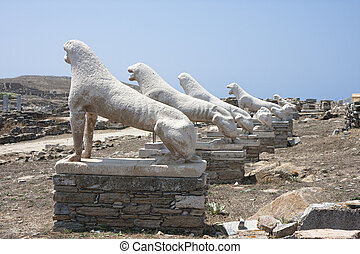 Terrace of the Lions on Delos,Greece - Archaic statues of...