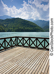 Terrace on Barcis lake - Terrace on the green waters of...