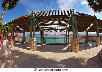 Terrace on coast of lake