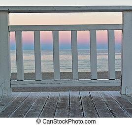 terrace with romantic sunset sea