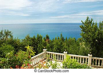 adriatic sea landscape, view from stone terrace