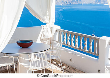 Terrace with view of the caldera in Santorini