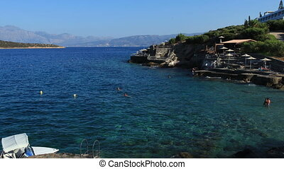 Terraced beach and mediterranean sea, Agios Nikolaos, Crete