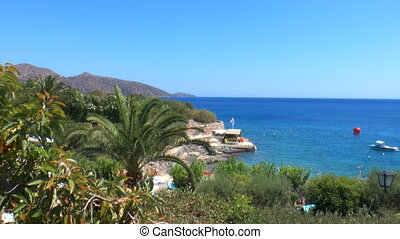 Terraced beach and mediterranean sea, Agios Nikolaos, Crete