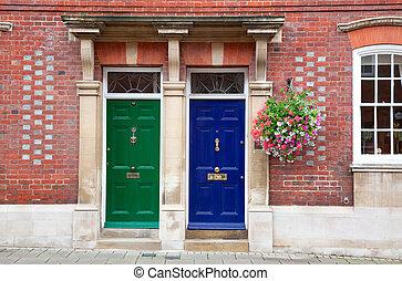 terraced, casas, ligado, um, inglês, residencial, propriedade