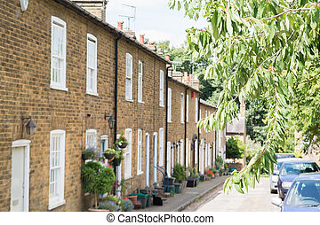 Terraced houses on a typical english residential street
