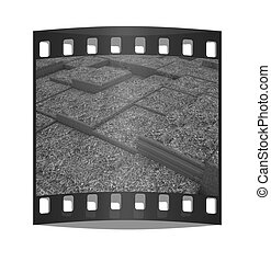 Terraces of grass. The film strip