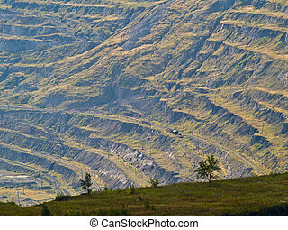 terraces of open-pit mine. - Close up view of Korkino...