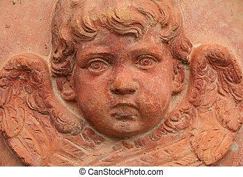 terracota, alivio, italia, ángel, decorativo
