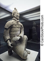 terracota, arquero, arrodillar, guerrero