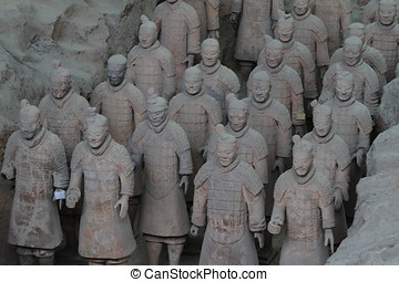 terracota, ejército, de, xian, en, china