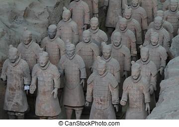 terracota, ejército, de, xian, en, china