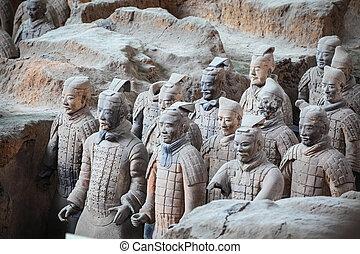 terracota, guerreros, en, xian