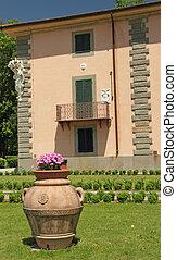 terracotta, つぼ, 中に, pratolino, 庭