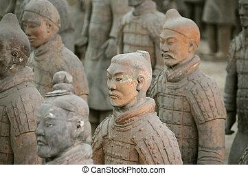 terracotta, 陶磁器, 兵士, xi'an