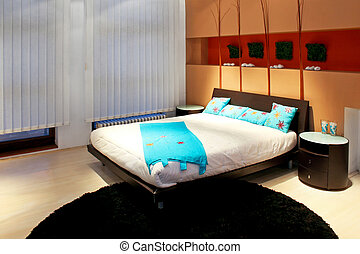 Bedroom with decoration and terracotta details horizontal