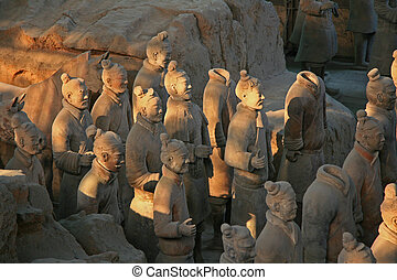 terracotta, guerreiros, em, xian