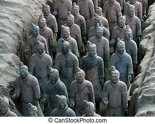 terracotta, kriger, statuer