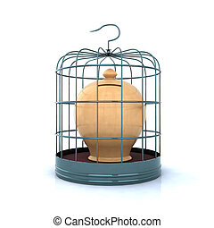 terracotta money bank closed in a cage - terracotta money...