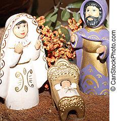 terracotta Nativity with Joseph with the black beard -...