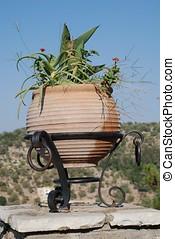 Terracotta pot, Meganissi - A decorative terracotta plant...