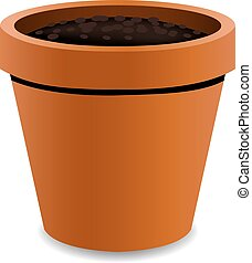 Terracotta Pot With Gradient Mesh, Vector Illustration