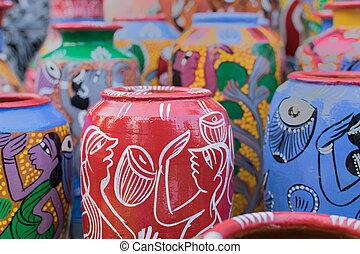 Many clay pots in india  Many clay pots on market in india