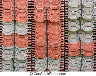 Terracotta roof tile stack