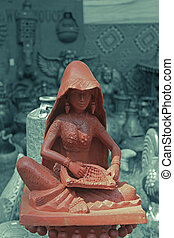 Terracotta Sculpture displayed in an exhibition, India