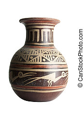 Terracotta vase with patterns