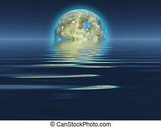 terraformed, água, luna, levanta-se, sobre