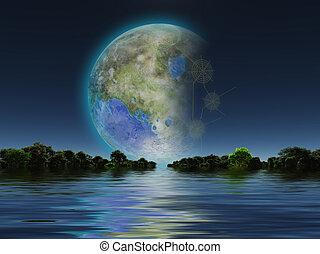 Terraformed Luna - Terraformed Moon seen from Earth