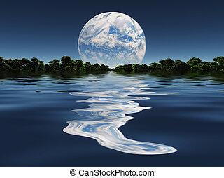 Terraformed Moon from Earth or Exo Solar Planet