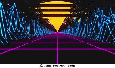 terrain, boucle, 80s, lumières, incandescent, paysage, arbres, montagnes, poly, retro, fond, soleil, étoiles, bas, animation, pourpre, retrowave, néon, paume, horizon