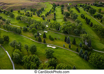 terrain de golf, aérien