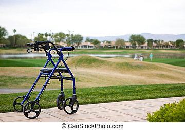 terrain de golf, fond, dehors, marcheur, patio